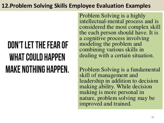 problem solving skills performance review samples